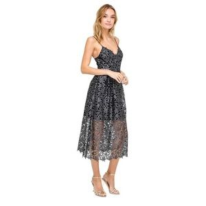 ASTR Metallic Silver Overlay Lace Dress Size L